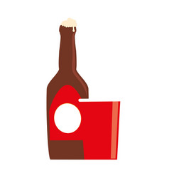 color silhouette with beer bottle and disposable vector image