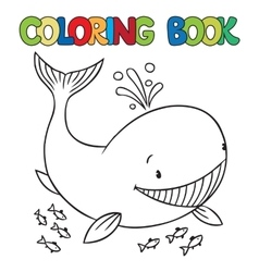 Coloring book of funny whale vector