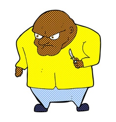 Comic cartoon evil man vector