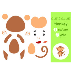 cut and glue paper little monkey kids crafts vector image