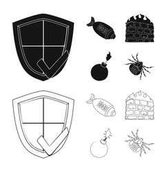 Design of virus and secure icon set of vector
