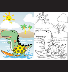 Dinosaurs surfer coloring book or page cartoon vector