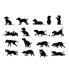 dog behavior silhouette set vector image