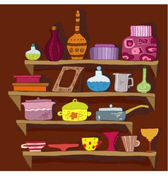 drawing utensils on the shelves vector image