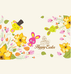 Easter background with cute bunny vector