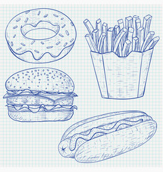 fast food blue sketch on lined paper background vector image