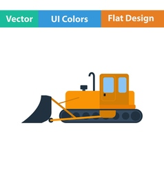 Flat design icon of Construction bulldozer vector