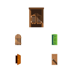 flat icon approach set of entry wooden fence vector image