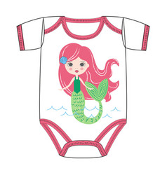 freehand handdrawn mermaid with long red hair vector image