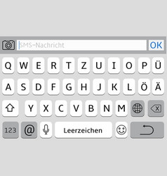 germany alphabet virtual keyboard for mobile phone vector image