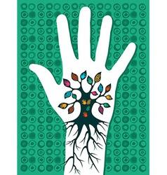 Go green hand tree vector image