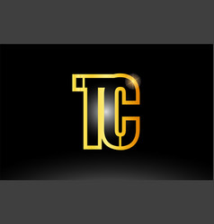 Gold black alphabet letter tc t c logo vector