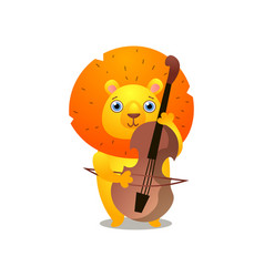 Gold lion play at old cello instrumental melody vector