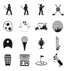 Golf black simple icons set vector