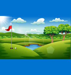 Golf course on the landscape background vector