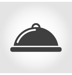 Grey food platter icon vector