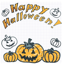 Halloween background with doodle pumpkin vector image