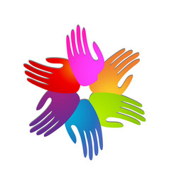 Hands of people coming together for change icon vector