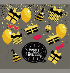 happy birthday celebration with party decoration vector image