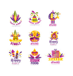 Happy diwali logo design set hindu festival of vector