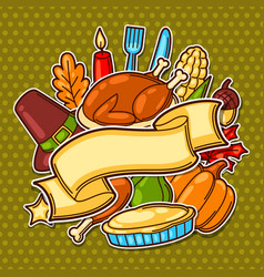 Happy thanksgiving day background with holiday vector