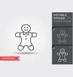 holiday gingerbread man cookie line icon with vector image