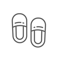 Home slippers line icon vector
