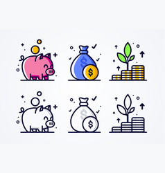 icon set money grow investment and economizing vector image