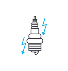 Ignition system thin line stroke icon vector