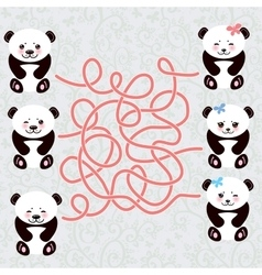 Kawaii funny panda white muzzle with pink cheeks vector image