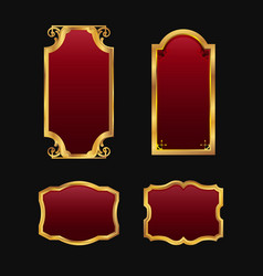Labels with 3d decorative red golden frames vector