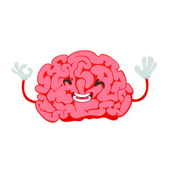 little brain with a face and hands laughing vector image