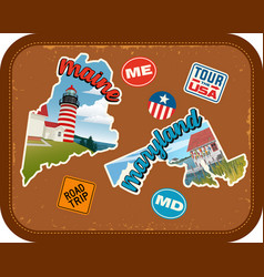 Maine maryland travel stickers vector