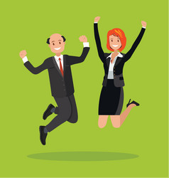 man and a woman jump celebrate the victory vector image