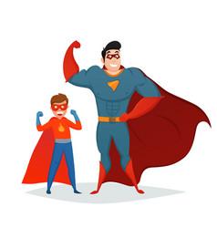 Man and boy superheroes retro composition vector