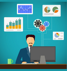 man sits on the workplace at the computer vector image