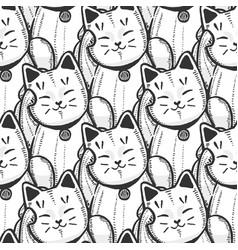 Maneki neko pattern in hand drawn style vector