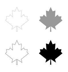 Maple leaf the black and grey color set icon vector