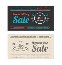 Memorial day sale banners vector