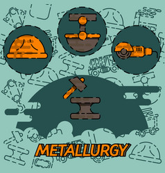 metallurgy flat concept icon vector image