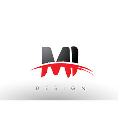Mi m i brush logo letters with red and black vector