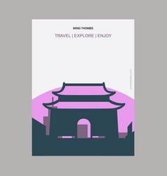 ming thombs china vintage style landmark poster vector image