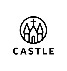 minimalist castle church building with catholic vector image