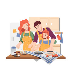 Mom and dad teaching daughter to cook at home vector