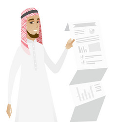 muslim businessman presenting business report vector image