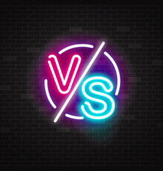 neon glowing versus battle sign for vector image