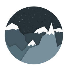 Night landscape mountains flat design vector