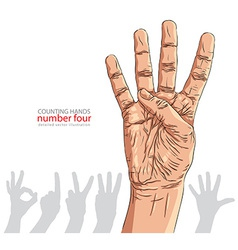 Numbers hand signs set number four detailed vector image