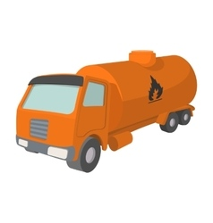 Orange oil truck cartoon icon vector