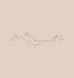 pen line silhouette prague beige vector image